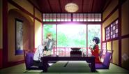 Atsushi, Kunikida, and Kyoka at the Tachibana Temple
