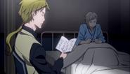 Kunikida with Atsushi at the agency infirmary