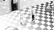Lucy helping Atsushi escape Moby Dick through Anne's chamber (manga)