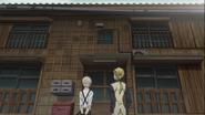 Atsushi and Kunikida arrives at Katai's apartment