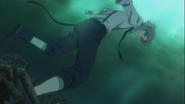 Atsushi's foot stucked between mooring chains