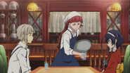 Lucy serving Atsushi and Kyoka at the cafe