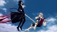 Atsushi grabs Akutagawa using the tiger's tail