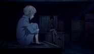 Atsushi and Dazai waiting for the tiger to appear