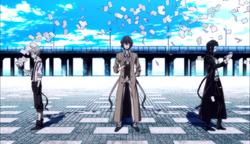 Ending 1 - Atsushi, Dazai, and Akutagawa holding the book