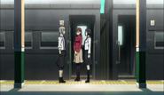 Atsushi meeting Naomi and Haruno at the train station