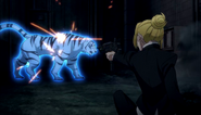 Tiger being attacked by Higuchi