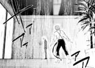 Fitzgerald and Atsushi drenched in sprinkler water (manga)