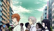 Tanizaki, Atsushi, and Naomi looking for Kenji