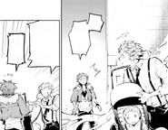 Atsushi hands the infant to Tachihara (manga)