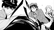 Ranpo and Atsushi looks at the victim's body (manga)