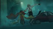 Kyoka and Atsushi run from the creature ability