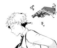 Gogol points a gun at Atsushi (manga)
