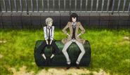 Atushi and Dazai outside the agency dormitory