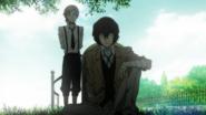 Dazai visits Oda's grave