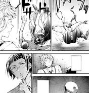 Ango helps Atsushi's group hide (manga)