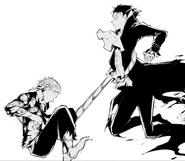 Atsushi grabs Akutagawa using the tiger's tail (manga)