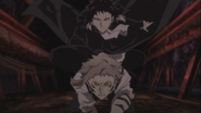 Atsushi and Akutagawa chasing after Pushkin with Atsushi's activated ability