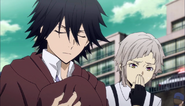 Ranpo and Atsushi paying respects to the murder victim