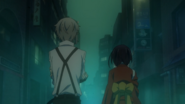Atsushi and Kyoka in the fog-filled streets