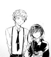 Atsushi telling Kyoka to open the agency's door (manga)