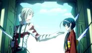 Atsushi asking Kyoka the location of the bomb