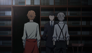 Atsushi and Tanizaki arriving at the library