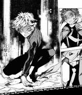 Atsushi bruises Akutagawa (BEAST manga)
