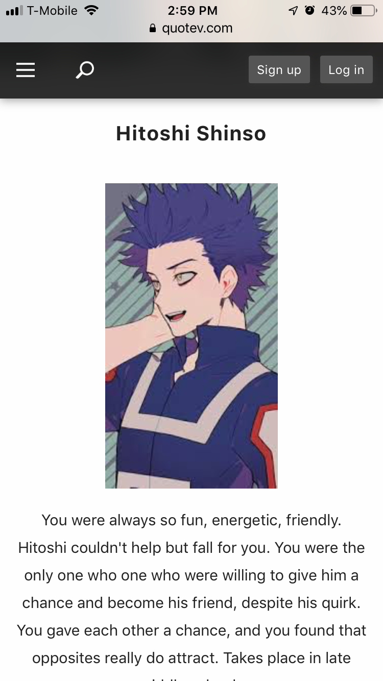 I took a quiz to see who Mha boy would fall for me and this is who I