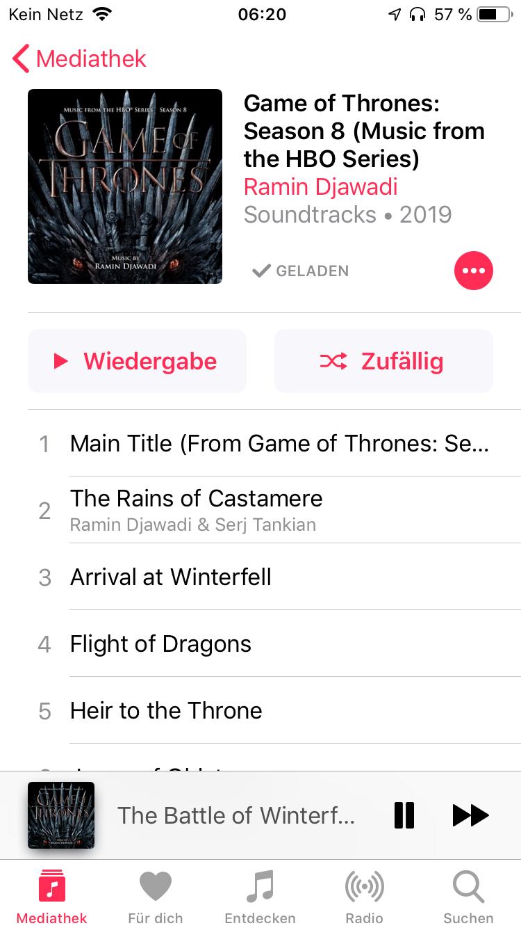 Die Soundtracks sind draußen! 2 Stunden und 32 Tracks! Ramin Djawadi ist der Wahnsinn