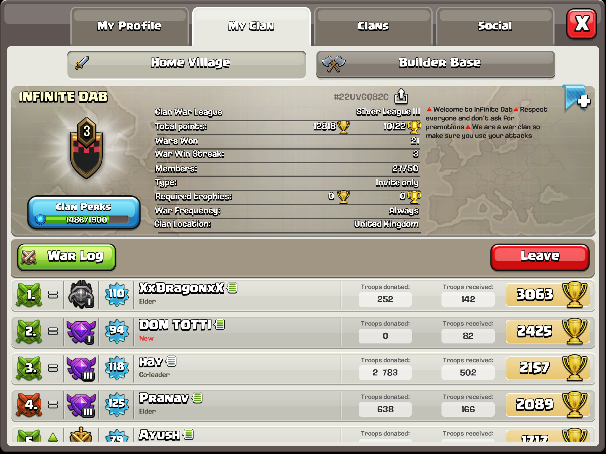 Need members for clan wars