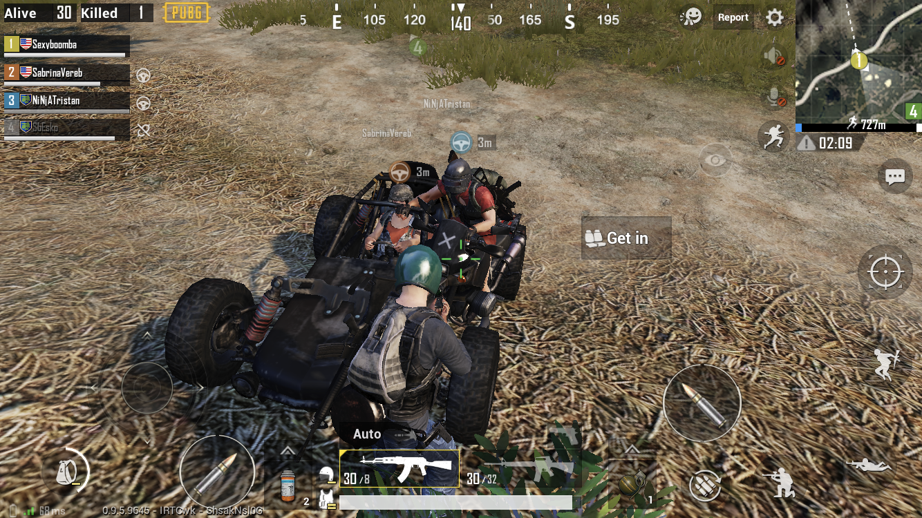 Glitch. Team mate was itching to get a ride so he stuck to the side of the car. (PUBG mobile)