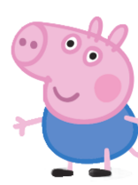 George Pig standing in his typical blue dress