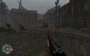 Clearing out enemies in basement of swastika house Approaching Hill 400 CoD2