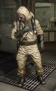 Weaver in hazmat suit