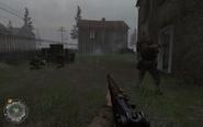 Soldier aiming Panzerschreck Approaching Hill 400 CoD2