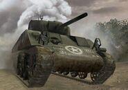 M4 Sherman coming out of smoke CoD3