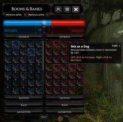 Banes & Boons interface