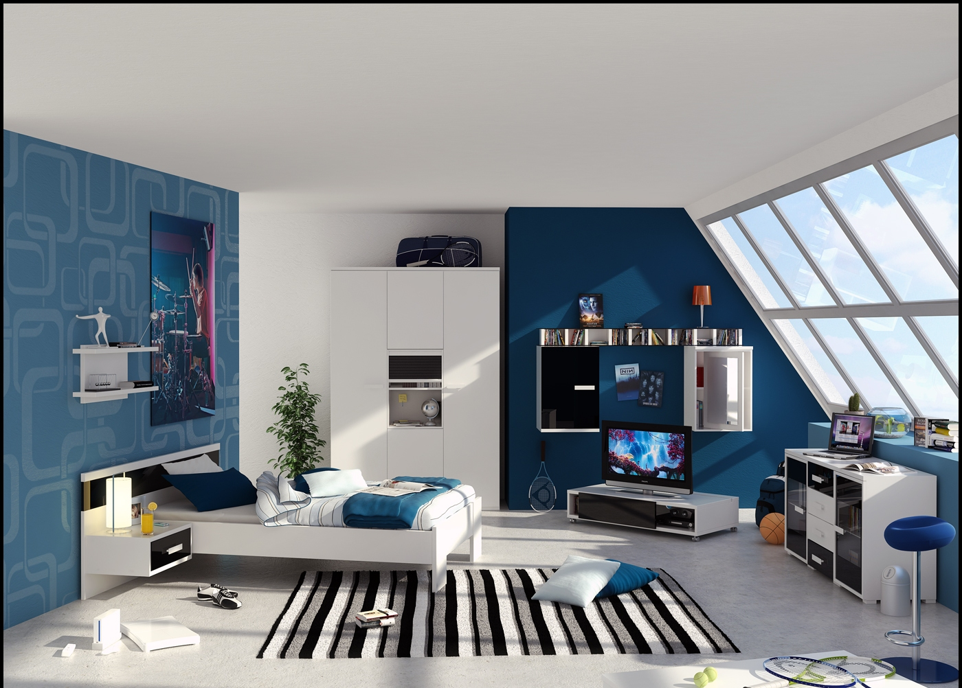 Blue-and-white-interior-for-boys-room-with-slopping-window.jpg