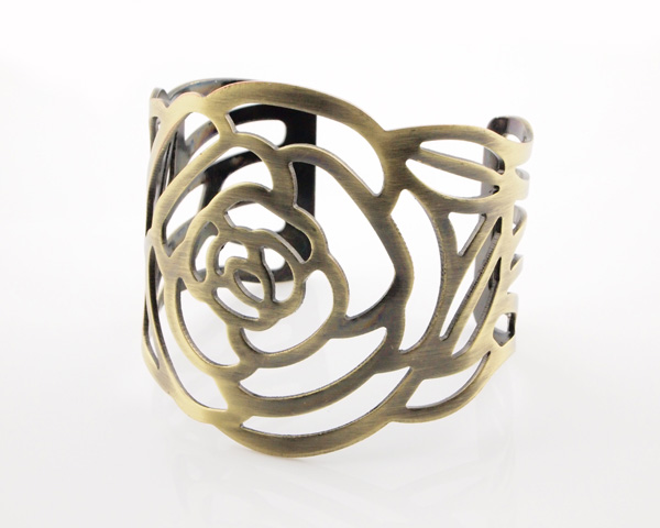 Vintage antique bronze hollowed rose cuff bracelet wholesale 1.JPG
