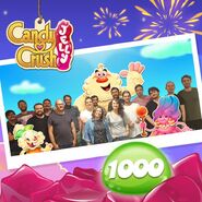 Candy Crush Jelly team Celerbating 1000 Levels