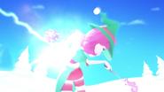 Colour bomb hitting Stella in Release The Magic video