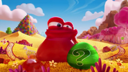 Bloated candy frog with a mystery candy