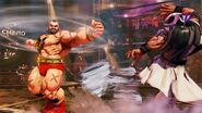 Zangief using the Double Lariat against Rashid in Street Fighter V