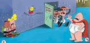 Captain Underpants confronting bank robbers
