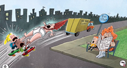 Captain Underpants and the boys dragged across the street