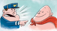 Captain Underpants confronted by a cop