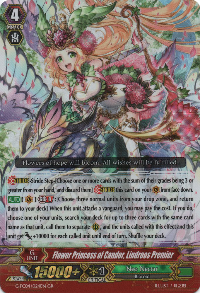 Flower Princess of Candor, Lindroos Premier