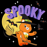 Promotional artwork of Trick-or-Sweet riding a broomstick.