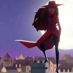 Carmen Sandiego stands on roof.jpg